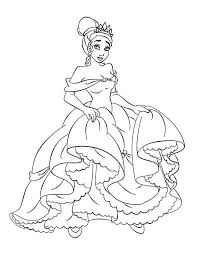 famous princess tiana princess frog coloring pages