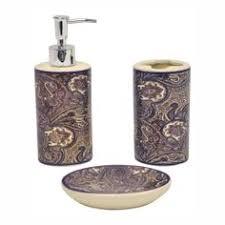 Purple Bathroom Accessories by Jewel White Boutique Faux Jewel Ceramic Bath Accessory 4 Piece Set