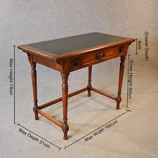 antique desk leather top english oak writing study table liberty