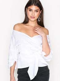 wrap blouses wrap shoulder blouse nly trend white blouses shirts