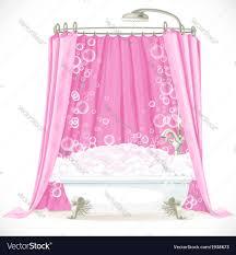 Claw Foot Bathtub Vintage Claw Foot Bathtub And A Pink Curtain On Vector Image
