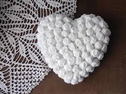 heart fabric flowers hanging home decor total white handmade