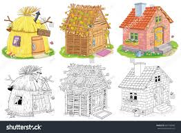 cute houses straw hut stock illustration 607199948