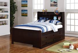 Full Size Captains Bed With Drawers Bedroom Black Stained Mahogany Bed Frame Which Furnished With