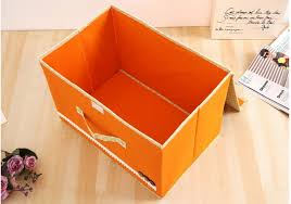 non woven fabric foldable cardboard storage box orange color