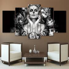 day of the dead home decor aliexpress com buy painting canvas printed poster modern 5 panel
