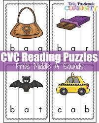 Printable Cvc Worksheets Cvc Words Middle A Sound Puzzles U2013 Only Passionate Curiosity