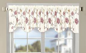 Burgundy Curtains With Valance Flower Embroidery Window Curtain Valance