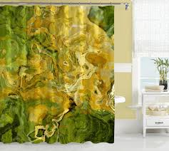 abstract art shower curtain green gold golden yellow u2013 abstract