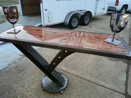 Iron Table Ls I Beam Table Designed For Bar Stools The Base Is Made With An