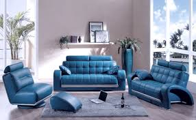 Leather Blue Sofa Sofas Modern Bolzano Blue Leather Furniture Set For Living Room
