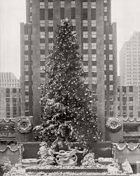 vintage images of rockefeller center christmas tree in new york