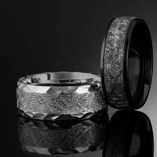meteorite mens wedding band textured cobalt and meteorite mens ring with hammered edge 9mm