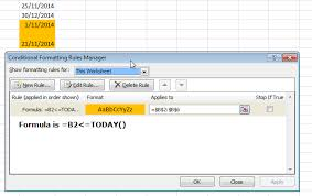 format date in excel 2007 excel format cell if cell contains date less than today stack