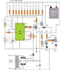 led emergency light circuit with battery over charge protection