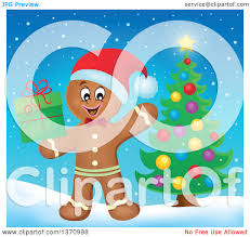 clipart of a happy gingerbread man cookie waving and holding a