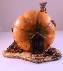 fairy garden orange pumpkin statue miniature faery house for