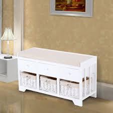 Storage Unit Bathroom Homcom Wooden Storage Unit Bench Seat Cabinet 3 Drawers Baskets