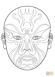 chinese opera mask 3 coloring page free printable coloring pages