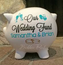 personalized silver piggy bank personalized wedding fund piggy bank engagement gift ring party
