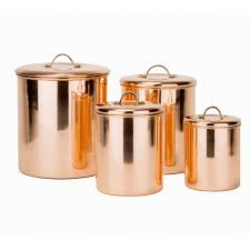 dutch 4 pc copper kitchen canister set