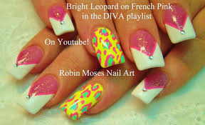 pink and white french tip nail art design yellow animal print
