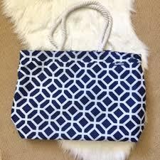 nautical tote 43 basics handbags quatrefoil blue rope handle