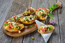 baked canapes warm vegetarian canapes baked crostini with mixed food