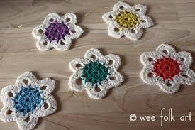 retro crochet snowflake ornament pattern wee folk