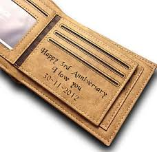3rd wedding anniversary gift personalised engraved mens leather wallet 3rd wedding anniversary