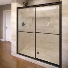 40 Shower Door Basco Deluxe 40 In X 68 In Framed Sliding Shower Door In
