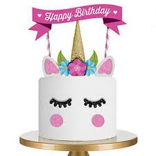 2018 Unicorn Happy Birthday Cake Flag Birthday Decoration Stand