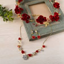 necklace flower handmade images New 3pcs set gold color jewelry sets red flower handmade headband jpg