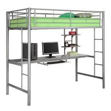 Simple Kids Beds Metal Twin Over Writing Computer Desk Bunk Bed Silver This