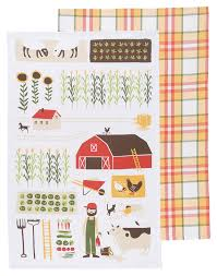 amazon com now designs kitchen dishtowel set of two farmer joe