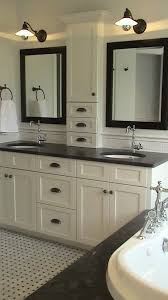 double sink vanity with middle tower ideas for home decor long mirror dead space and tower