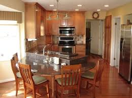Kitchen Island With Seating For 5 Kitchen Curvy Kitchen Table Attached With Island With 5 Wooden