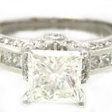 14k white gold princess cut engagement ring art deco style 2 40ctw