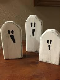 painted wood ghosts primitive halloween decor ghost blocks 2x4