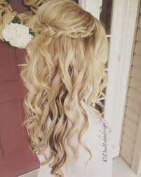 bridal hair extensions braided updo half up half curls