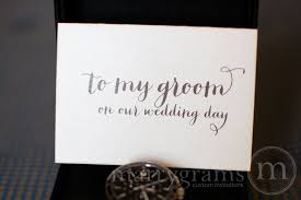 Card From Bride To Groom On Wedding Day To My Husband On Our Wedding Day Card Bride Or Groom Thick Style