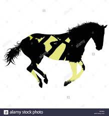 mustang horse silhouette wild horse silhouette made of abstract background forest landscape