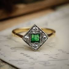 desirable and distinctive vintage art deco emerald and diamond