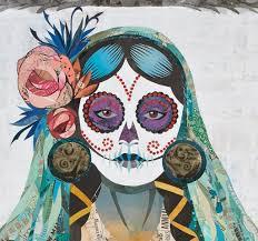 señorita verde dia de los muertos paper collage art dolan geiman
