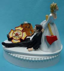 fireman cake topper wedding cake topper firefighter fireman logo axe