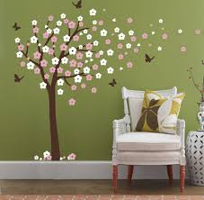 huge cherry blossom tree blowing in the wind wall decals nursery huge cherry blossom tree blowing in the wind wall decals nursery tree flowers butterfly art baby kids room wall sticker wall decor 78 h x 74 8 w