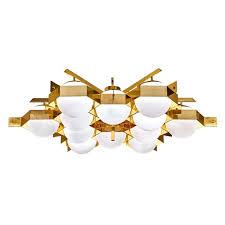 mid century flush mount lighting esagono chandelier brass version gaspare asaro italian modern