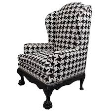 High Wing Back Dining Room Chairs Bathroom Amazing Decorated Houndstooth Chair With Unique Pillow