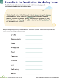 vocab in history preamble to the constitution worksheet