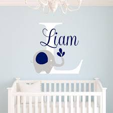 Baby Name Decor For Nursery 2016 New Custome Baby Name Decal Elephant Wall Sticker Baby Room